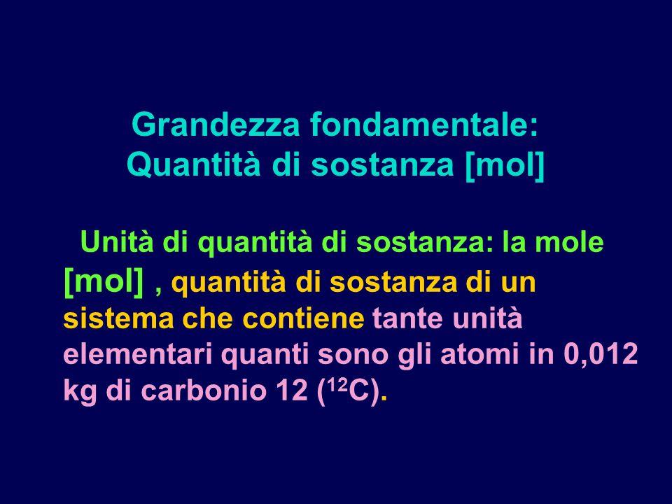 Grandezza fondamentale: Quantità di sostanza [mol]